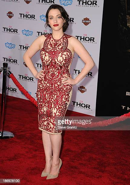Kat Dennings arrives at the 'Thor The Dark World' Los Angeles Premiere at the El Capitan Theatre on November 4 2013 in Hollywood California