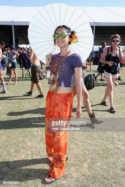 Kat Gopez from Los Angeles California attends day 3 of the 2014 Coachella Valley Music Arts Festival at the Empire Polo Club on April 13 2014 in...