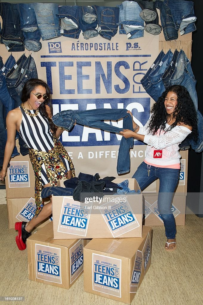 Kat Graham and Aeropostale employee Jessika Cuello lend their support to the DoSomething.org and Aeropostale's '6th Annual Teens For Jeans' Campaign at Westside Pavilion on February 8, 2013 in Los Angeles, California.