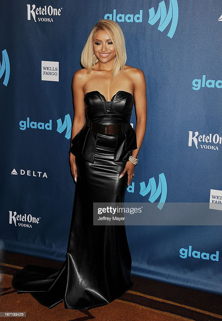 Kat Graham arrives at the 24th Annual GLAAD Media Awards at JW Marriott Los Angeles at L.A. LIVE on April 20, 2013 in Los Angeles, California.