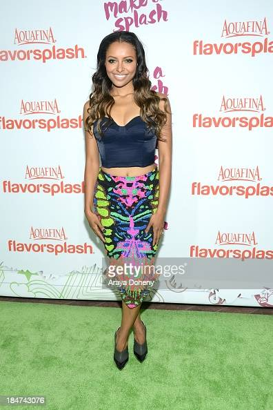 Kat Graham attends the Aquafina FlavorSplash Launch Party With Austin Mahone Nick Cannon at Sony Pictures Studios on October 15 2013 in Culver City...