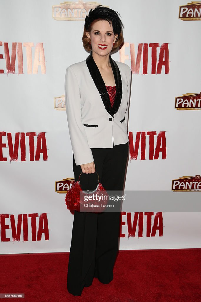 <a gi-track='captionPersonalityLinkClicked' href=/galleries/search?phrase=Kat+Kramer&family=editorial&specificpeople=236074 ng-click='$event.stopPropagation()'>Kat Kramer</a> arrives at the opening night red carpet for 'Evita' at the Pantages Theatre on October 24, 2013 in Hollywood, California.