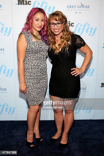 Kat Lazo and Laci Green attend GREY GOOSE Vodka Hosts The Inaugural Mic50 Awards at Marquee on June 18 2015 in New York City