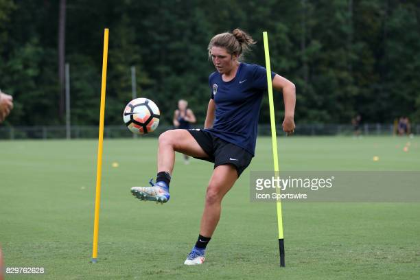Kat McDonaldduring a North Carolina Courage training session on July 27 at WakeMed Soccer Park Field 7 in Cary NC