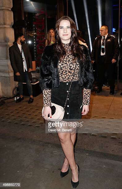 Kat Shoob arrives at Superdry Regent Street to celebrate the launch of the new premium menswear AW15 'Idris Elba Superdry' collection on November 26...