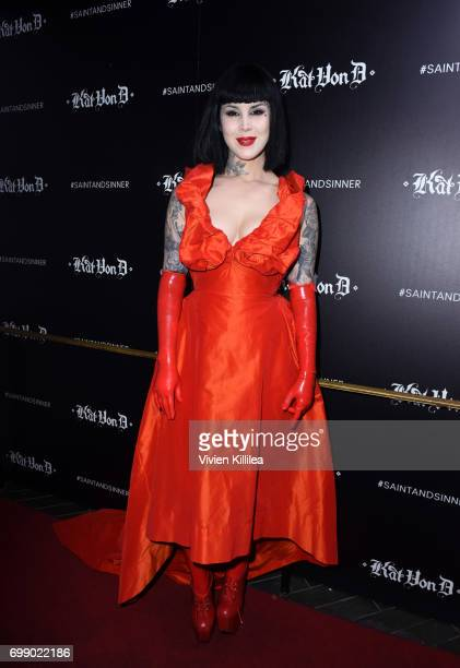 Kat Von D attends the Kat Von D Beauty Fragrance Launch Press Party #SAINTANDSINNER at Hollywood Roosevelt Hotel on June 20 2017 in Hollywood...