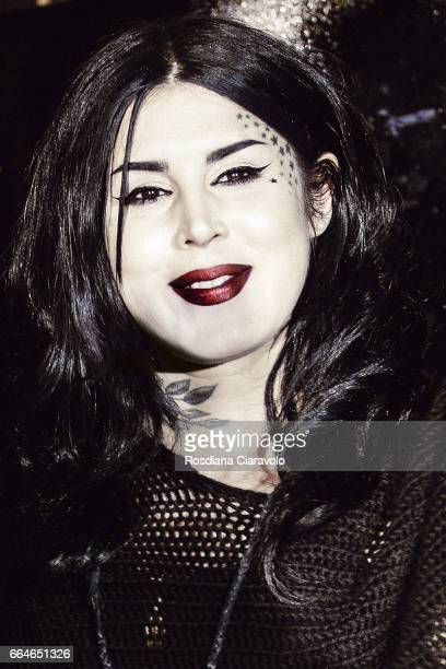 Kat Von D poses during the Kat Von D Inaugurates Studded Kiss Lipstick Installation In Milan at La Statale on April 4 2017 in Milan Italy