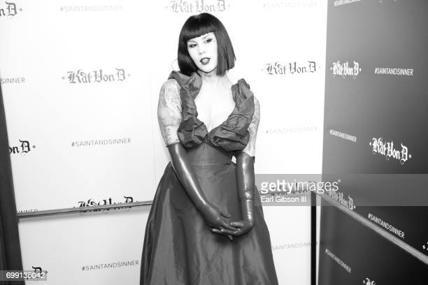 Kat Von D poses for a photo at her Beauty Fragrance Launch Press Party #SAINTANDSINNER at Hollywood Roosevelt Hotel on June 20 2017 in Hollywood...