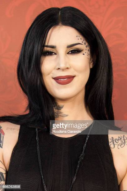 Kat Von D poses for photos at Sephora Cso Vittorio Emanuele Milan on April 8 2017 in Milan Italy