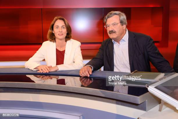 Katarina Barley and Nikolaus Brender during the TV Show 'Hart aber Fair' on September 25 2017 in Berlin Germany