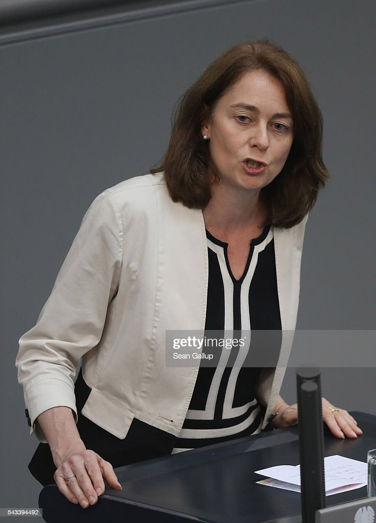 Katarina Barley, General Secretary of the German Social Democarts (SPD), speaks during debates after German Chancellor Angela Merkel addressed the Bundestag with a government declaration on the recent Brexit vote on June 28, 2016 in Berlin, Germany. European leaders are scheduled to meet at a summit in Brussels later today to discuss the consequences of the British vote to leave the European Union. Merkel called the vote an unprecedented event in EU history but one the remaining 27 member states will weather.