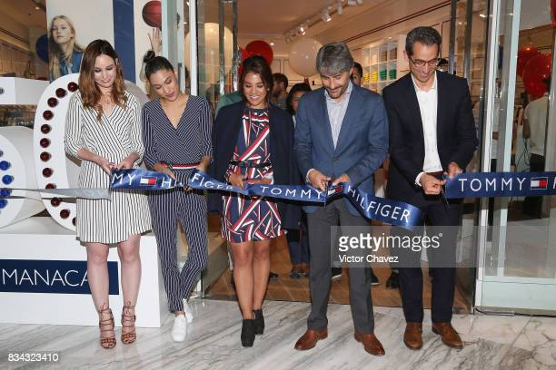 Katarina Cloidt Ingrid Ricardo Baston and Ramon Soler attend the Tommy Hilfiger Mexico City store opening at Torre Manacar on August 17 2017 in...