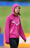 Katarina Johnson Thompson of Great Britain prepares to compete in the Womens High Jump during the 2014 Sainsbury's British Championships at the...