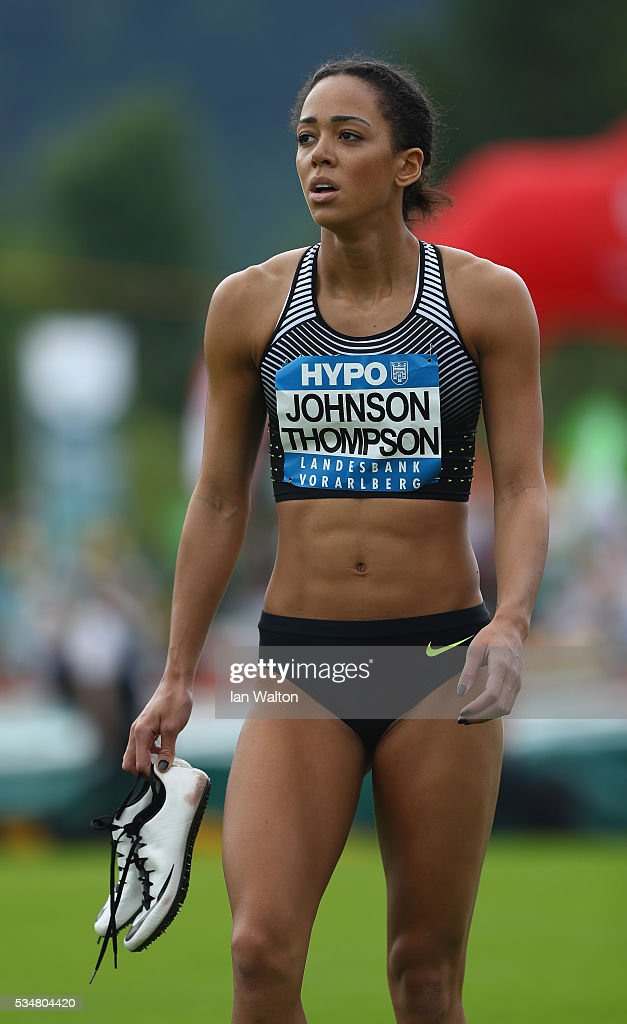 <a gi-track='captionPersonalityLinkClicked' href=/galleries/search?phrase=Katarina+Johnson-Thompson&family=editorial&specificpeople=9493137 ng-click='$event.stopPropagation()'>Katarina Johnson-Thompson</a> of Great Britain after the Women's Heptathlon 100 metres hurdles during the Hypomeeting Gotzis 2016 at the Mosle Stadiom on May 28, 2016 in Gotzis, Austria.