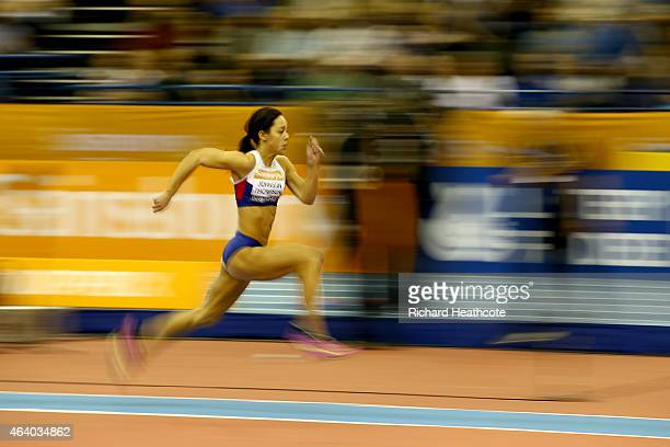 Katarina JohnsonThompson of Great Britain and Northern Ireland competes in the Women's Long Jump final during the Sainsbury's Indoor Grand Prix at...