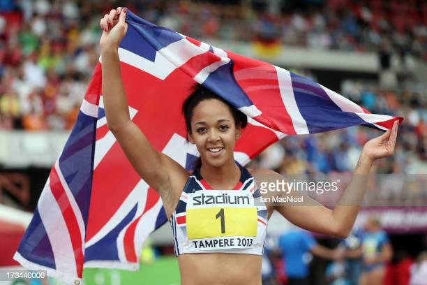 Katarina JohnsonThompson of Great Britain celebrates winning the Heptathlon during day four of The European Athletics U23 Championships 2013 on July...