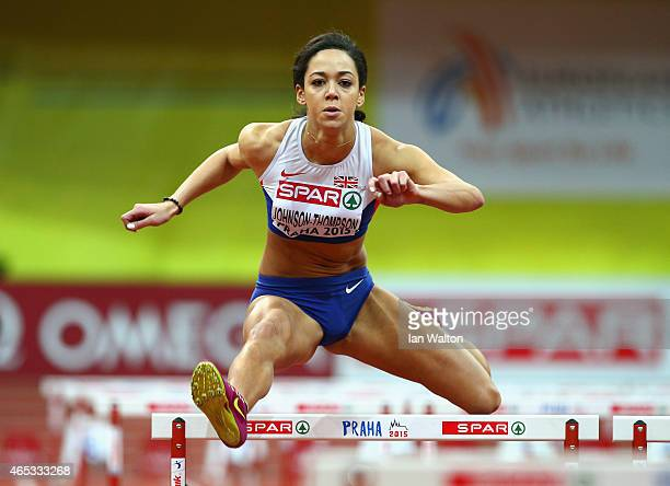 Katarina JohnsonThompson of Great Britain competes in the Women's Pentathlon 60 metre Hurdles during day one of the 2015 European Athletics Indoor...