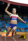 Katarina JohnsonThompson of Great Britain competes in the Womens Long Jump Final during the 2014 Sainsbury's British Championships at the Alexander...