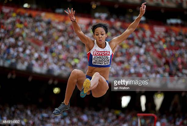 Katarina JohnsonThompson of Great Britain competes in the Women's Heptathlon Long Jump during day two of the 15th IAAF World Athletics Championships...