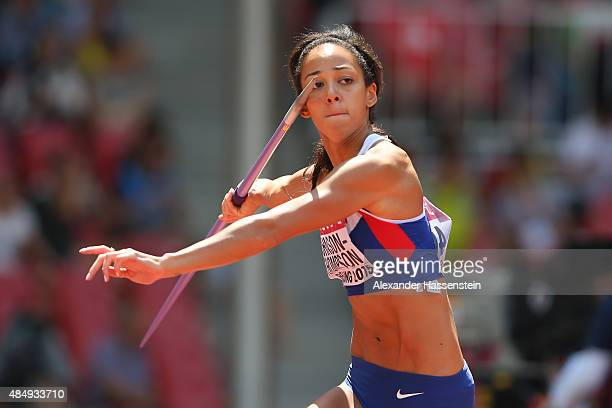 Katarina JohnsonThompson of Great Britain competes in the Women's Heptathlon Javelin during day two of the 15th IAAF World Athletics Championships...