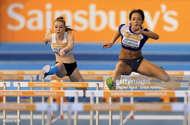 Katarina JohnsonThompson of Great Britain in action in the womens 60m hurdles during day two of the Sainsbury's British Athletics Indoor...