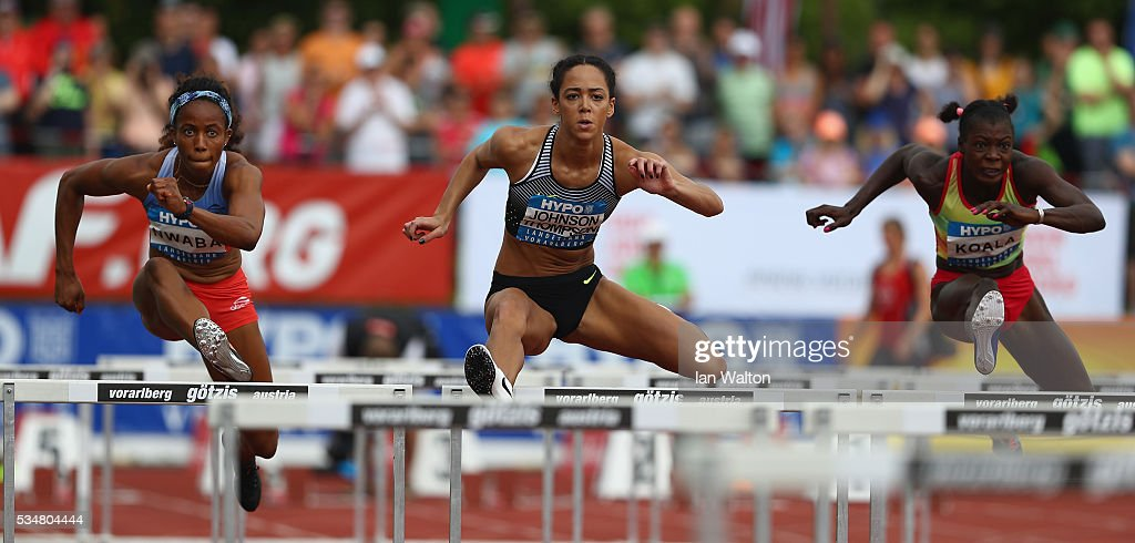 <a gi-track='captionPersonalityLinkClicked' href=/galleries/search?phrase=Katarina+Johnson-Thompson&family=editorial&specificpeople=9493137 ng-click='$event.stopPropagation()'>Katarina Johnson-Thompson</a> of Great Britain in action in the Women's Heptathlon 100 metres hurdles during the Hypomeeting Gotzis 2016 at the Mosle Stadiom on May 28, 2016 in Gotzis, Austria.
