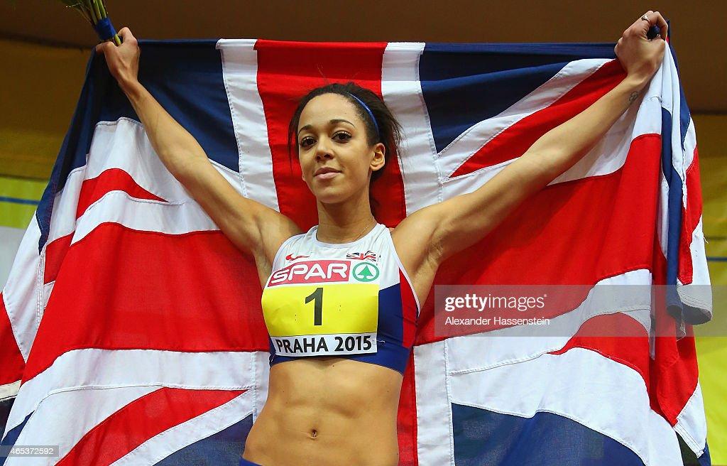 Katarina JohnsonThompson of Great Britain Northen Ireland celebrates winning gold in the Women's Pentathlon during day one of the 2015 European...