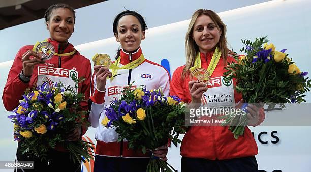 Katarina JohnsonThompson of Great Britain Northen Ireland celebrates her Gold medal in the Womens Pentathlon with Nafissatou Thiam of Belguim who won...