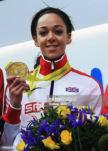 Katarina JohnsonThompson of Great Britain Northen Ireland celebrates her Gold medal in the Womens Pentathlon after day one of the 2015 European...