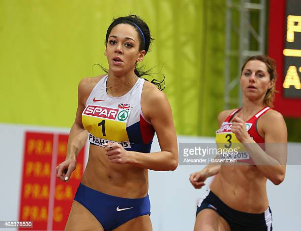 Katarina JohnsonThompson of Great Britain Northen Ireland looks on as she competes in the Women's Pentathlon 800 metres during day one of the 2015...