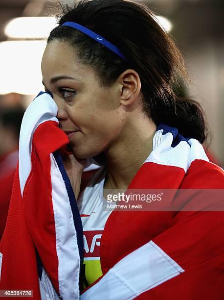 Katarina JohnsonThompson of Great Britain Northen Ireland looks on after winning the Womens Pentathlon after day one of the 2015 European Athletics...