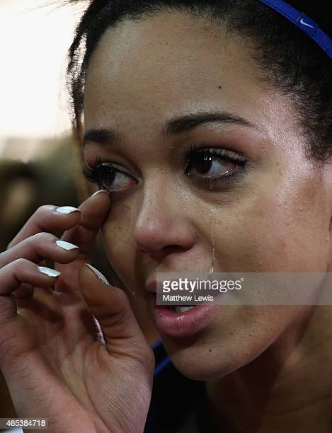 Katarina JohnsonThompson of Great Britain Northen Ireland sheds a tear after winning the Womens Pentathlon after day one of the 2015 European...