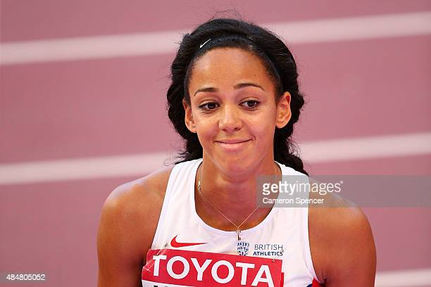 Katarina JohnsonThompson of Great Britain reacts after competing in the Women's Heptathlon High Jump during day one of the 15th IAAF World Athletics...