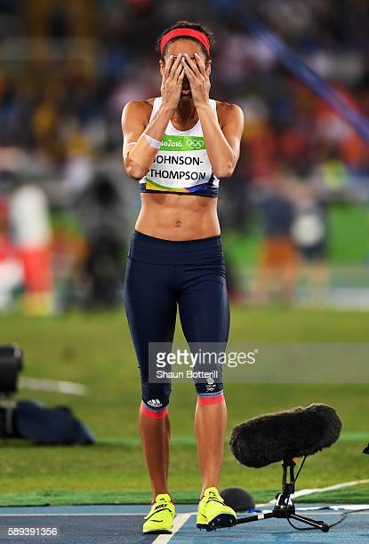 Katarina JohnsonThompson of Great Britain reacts in the Women's Heptathlon Javelin Throw on Day 8 of the Rio 2016 Olympic Games at the Olympic...
