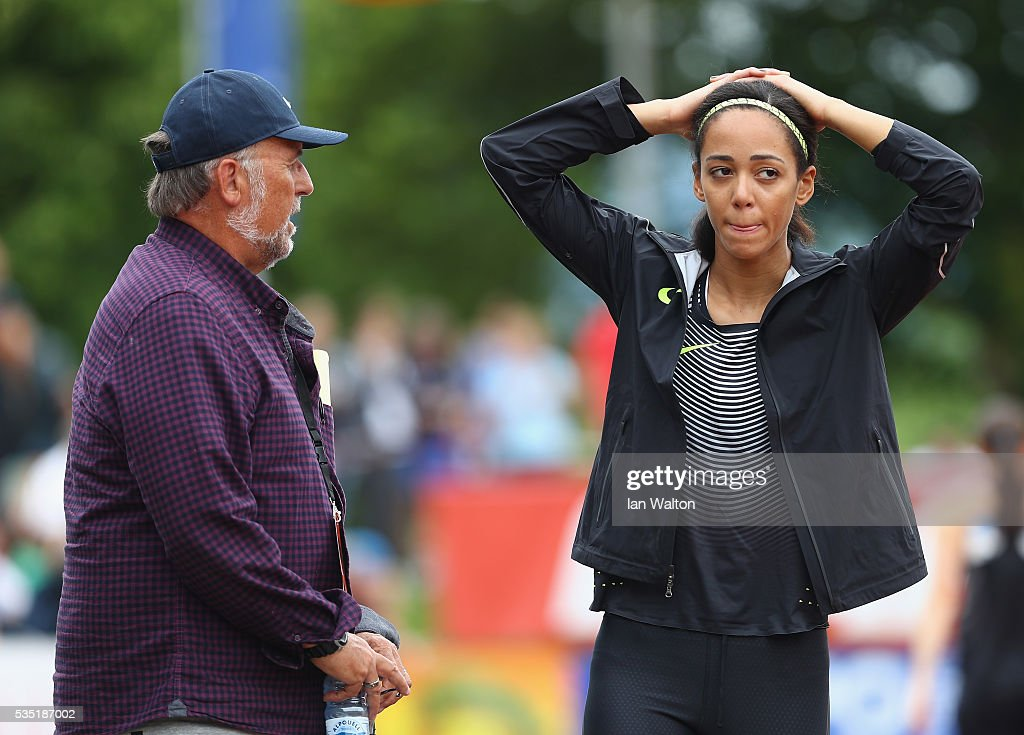 <a gi-track='captionPersonalityLinkClicked' href=/galleries/search?phrase=Katarina+Johnson-Thompson&family=editorial&specificpeople=9493137 ng-click='$event.stopPropagation()'>Katarina Johnson-Thompson</a> of Great Britain speaks with coach Mike Holmes during the Women's Heptathlon long jump during the Hypomeeting Gotzis 2016 at the Mosle Stadiom on May 29, 2016 in Gotzis, Austria.