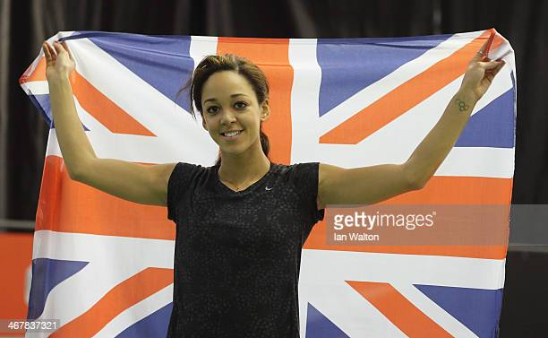 Katarina JohnsonThompson of Liverpool celebrates after setting a new British indoor record during day 1 of the Sainsbury's British Athletics Indoor...