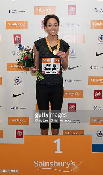 Katarina JohnsonThompson poses for the camera with her Gold medal after she wins the Womens High Jump with a New National Record during Day 1 of the...