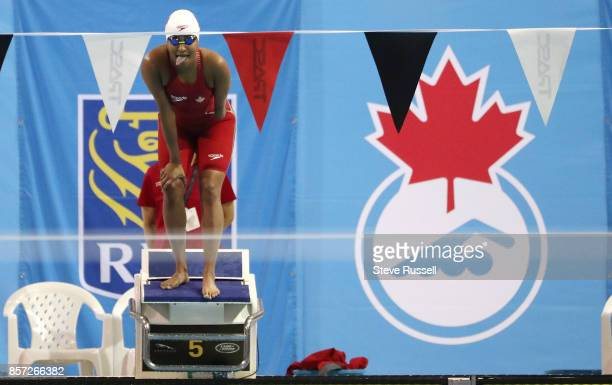 TORONTO ON OCTOBER 3 Katarina Rozon prepares to swim the 100 metres breaststroke as the Paraswimming athletes compete in the ParaSwimming Canadian...