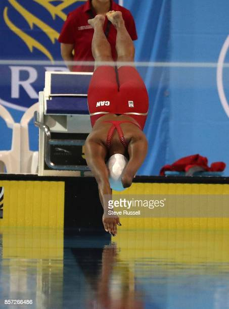 TORONTO ON OCTOBER 3 Katarina Rozon starts the 100 metres breaststroke as the Paraswimming athletes compete in the ParaSwimming Canadian Open at the...