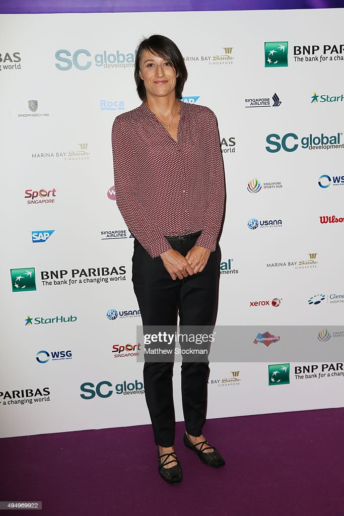 <a gi-track='captionPersonalityLinkClicked' href=/galleries/search?phrase=Katarina+Srebotnik&family=editorial&specificpeople=218044 ng-click='$event.stopPropagation()'>Katarina Srebotnik</a> attends Singapore Tennis Evening during BNP Paribas WTA Finals at Marina Bay Sands on October 30, 2015 in Singapore.