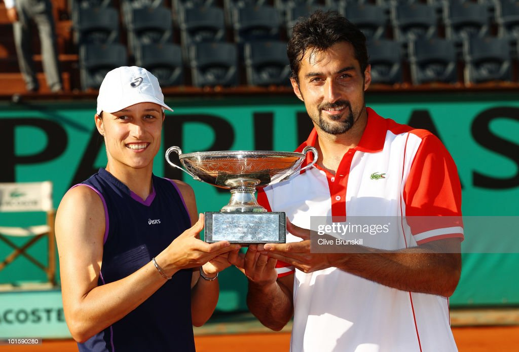 Katarina Srebotnik of Slovenia and Nenad Zimonjic of Serbia poses with the trophy after winning the mixed doubles final match between Katarina Srebotnik of Slovenia and Nenad Zimonjic of Serbia and Yaroslava Shvedova of Kazakhstan and Julian Knowle of Austria on day twelve of the French Open at Roland Garros on June 3, 2010 in Paris, France.