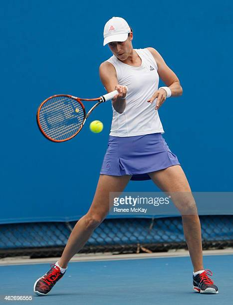 Katarina Srebotnik of Slovenia plays a forehand in her first round doubles match with Kveta Peschke of the Czech Republic against Alexandra Cadantu...