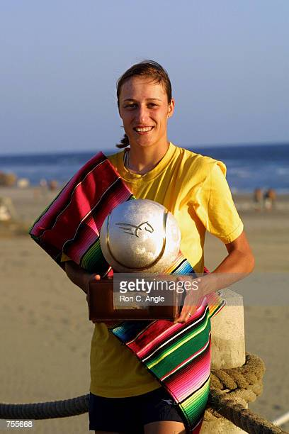 Katarina Srebotnik of Slovenia poses for a photo with her trophy March 3 2002 after winning the Mexican Open Tournament in Acapulco Srebotnik...