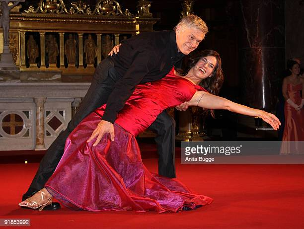 Katarina Witt and actor Ruediger Joswig perform on stage during the 'Jedermann' dress rehearsal at the Berlin Cathedral Church on October 13 2009 in...