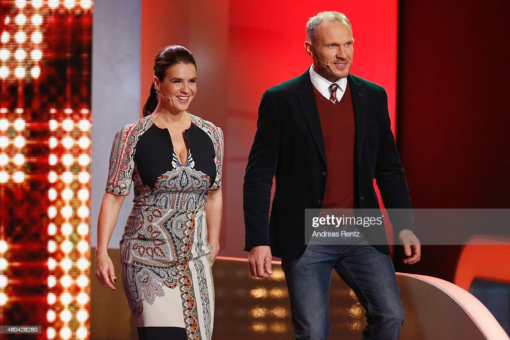 Katarina Witt and Hermann Maier attend the last broadcast of the Wetten dass tv show on December 13 2014 in Nuremberg Germany