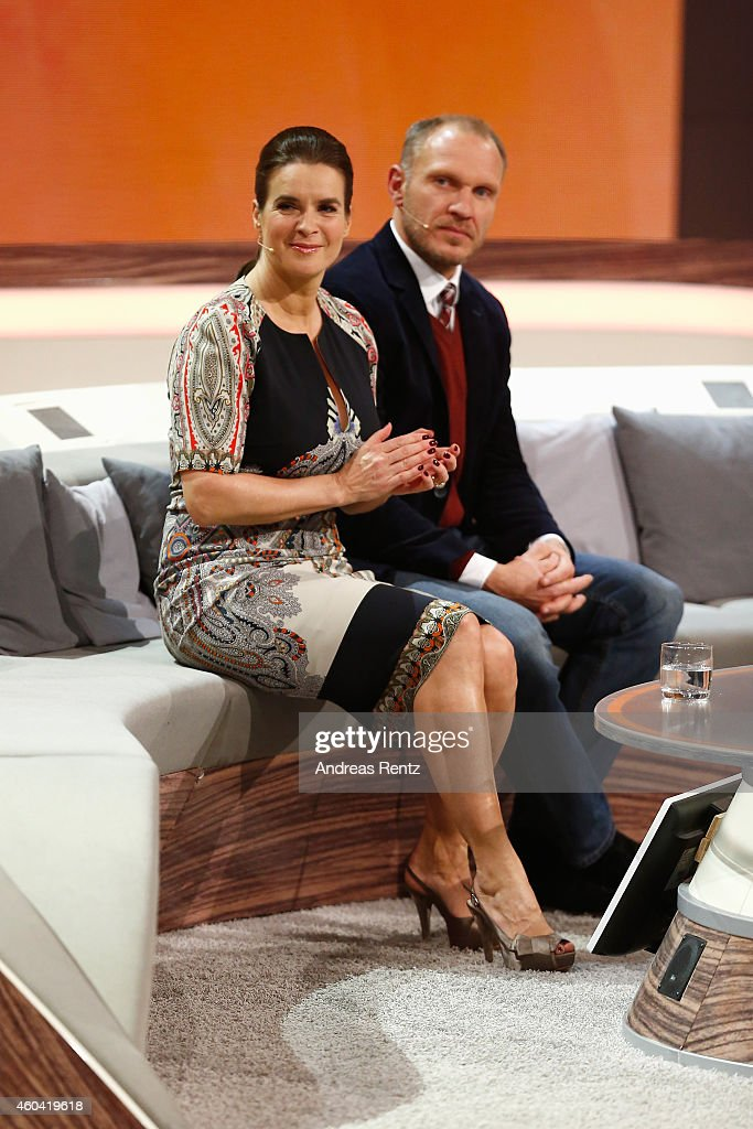 Katarina Witt and Hermann Maier seen on stage at the last broadcast of the Wetten dass tv show on December 13 2014 in Nuremberg Germany
