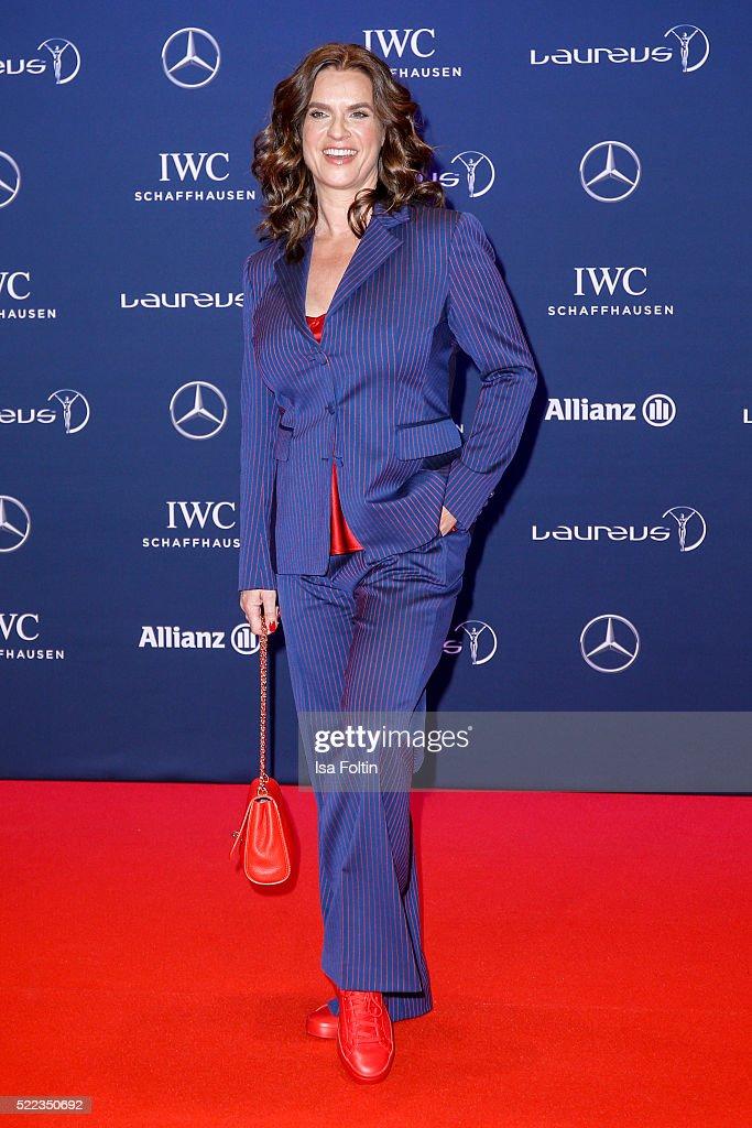 Katarina Witt attends the Laureus World Sports Awards 2016 on April 18, 2016 in Berlin, Germany.