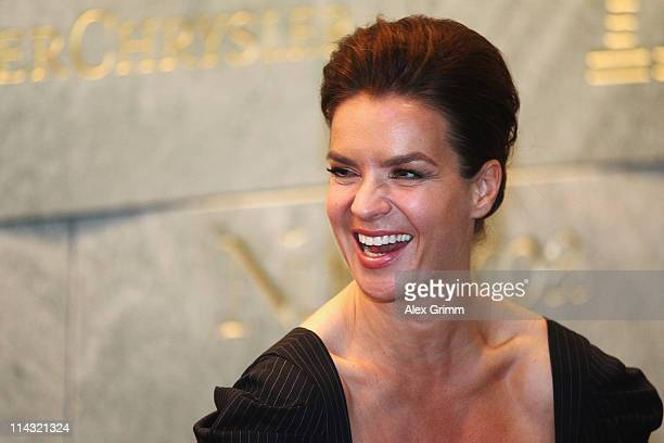 Katarina Witt Chair of Munich 2018 laughs during the briefing for IOC members at the Olympic Museum on May 18 2011 in Lausanne Switzerland The...