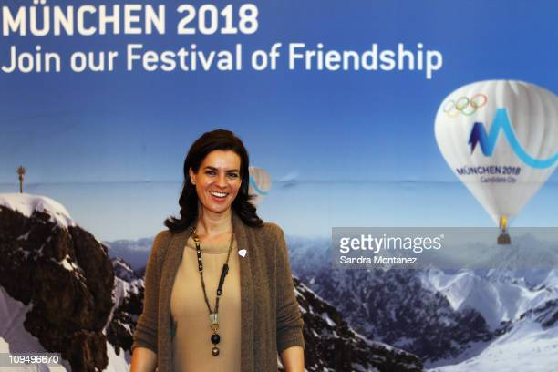 Katarina Witt chair of Munich 2018 poses after a press conference at Munich's town hall on February 28 2011 in Munich Germany The IOC's Evaluation...