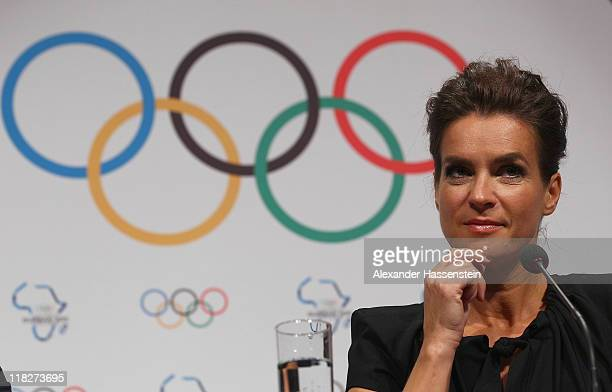 Katarina Witt Chair of the Munich 2018 Bid Committee and twotime Olympic champion looks on during a press conference of the Munich 2018 Bid Committee...